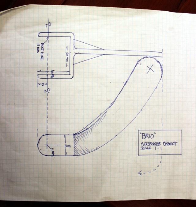Part one of the new bracket design for Westerbeke 21 alternator