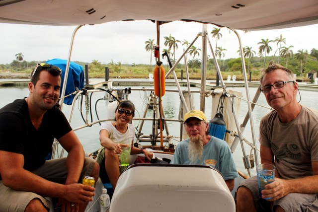 The happy line-handlers, relaxing after our Panama Canal Transit