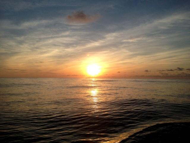 Sunset underway