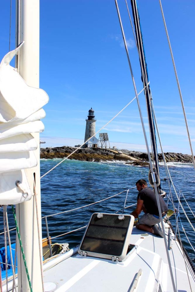 Brio anchored at Halfway Rock lighthouse in Casco Bay, Maine