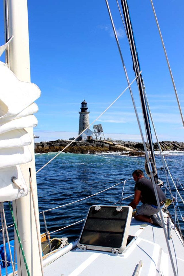 Approaching Halfway Rock Lighthouse to pick up the mooring