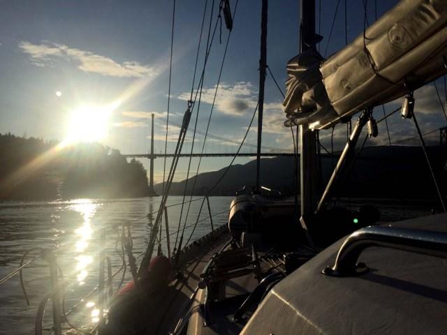 Sailing under the Lion's Gate Bridge in Vancouver
