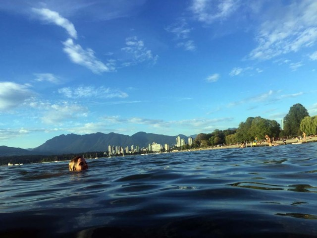 Jess swimming with Grouse Mountain in the background