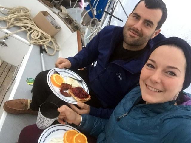 Breakfast in the shrinkwrap bubble - Portland, Maine sailboat life