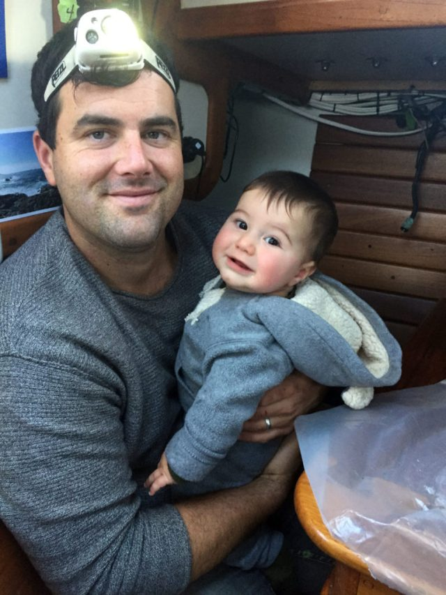 Daddy's little helper - boat baby and boat projects are sometimes a challenging mix!