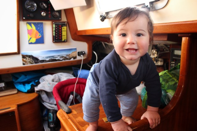 9-month old baby on a sailboat cruising in Charleston tiny home afloat