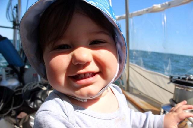 Boat baby underway in the cockpit