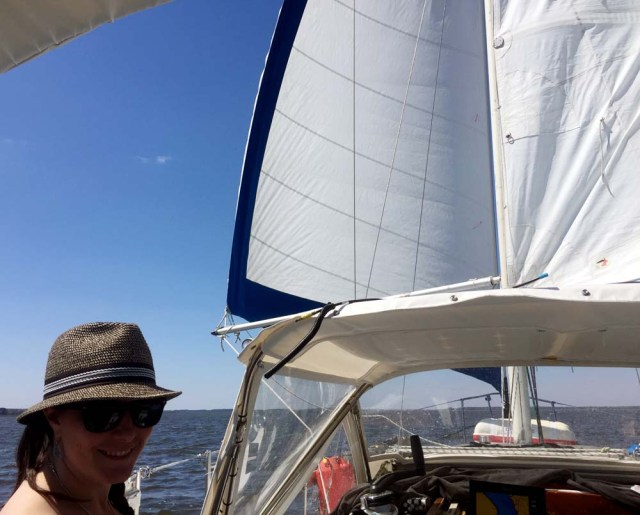 Nor'West 33 sailing wing-on-wing down the ICW - who says you can't sail in the ICW?