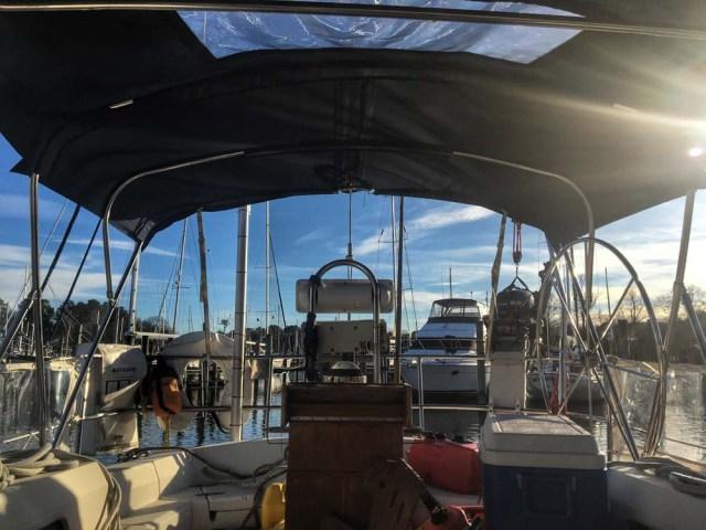 Cockpit views on our Sabre 42 liveaboard sailboat