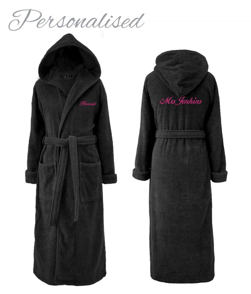 Personalised Hooded Dressing Gown Black For Her