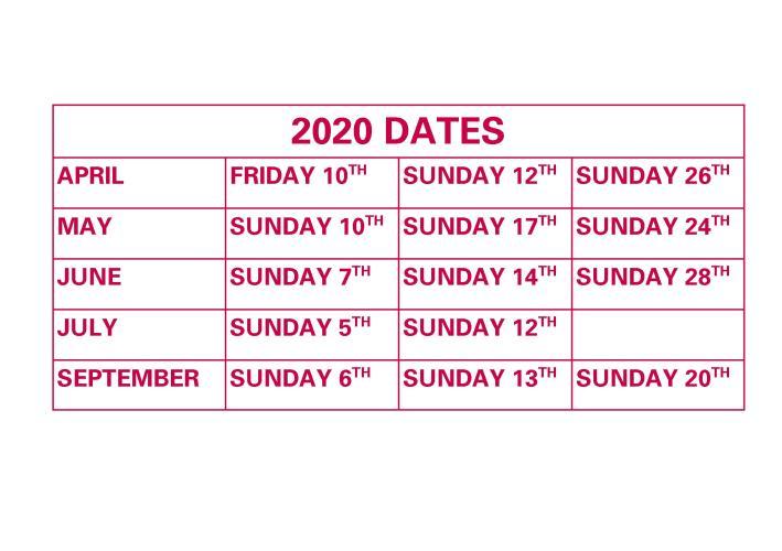 Car Boot Web dates 2020