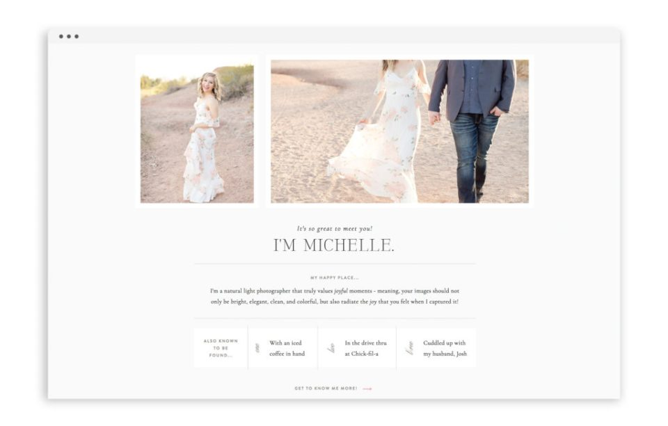 Michelle Joy Photography - Custom Logo Design, Stationery Design, Showit Web Design for Photographer - With Grace and Gold