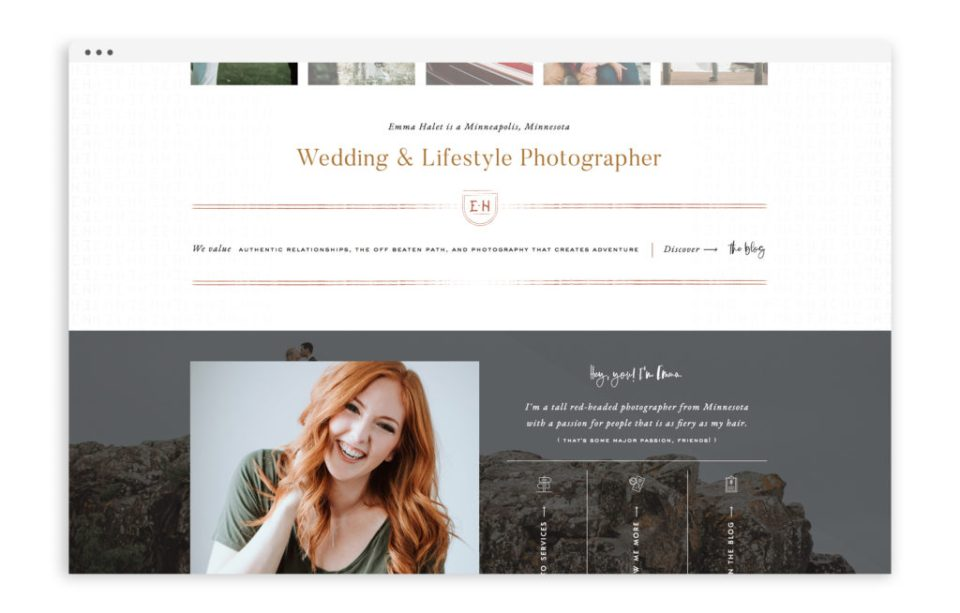 Emma Halet Photography - Brand and Custom Showit Web Design Website by With Grace and Gold - Photo - 2