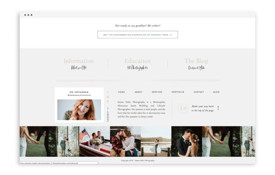 Emma Halet Photography - Brand and Custom Showit Web Design Website by With Grace and Gold - Photo - 3