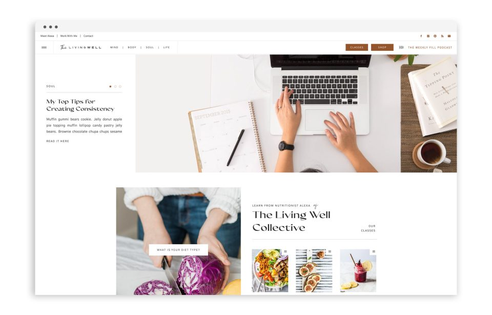 The Living Well Collective - Custom Brand Logo and Showit Web Website Design by With Grace and Gold - Best Web Design Designs Designer Designers for Creative Creatives Small Business Businesses - 1