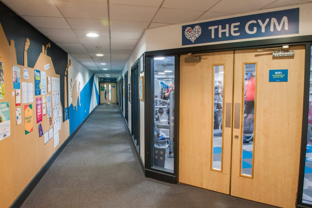 A general view of the entrance to the gym at Withington Baths and Leisure Centre, Withington, Manchester on Tuesday 7th November 2017