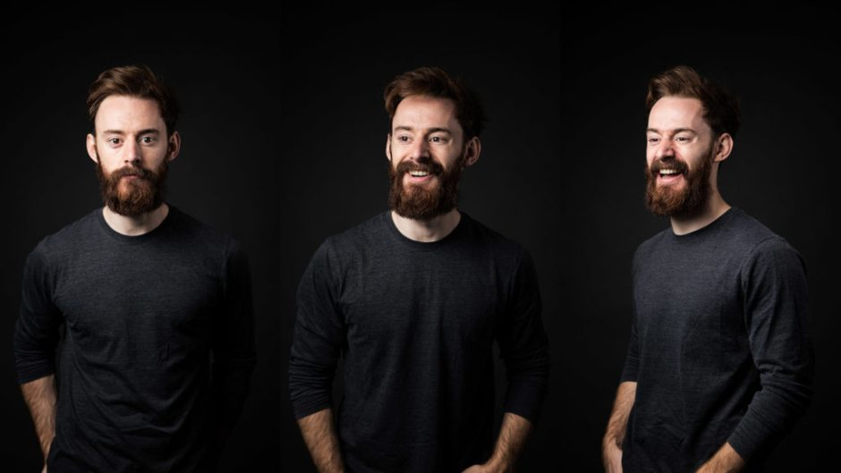 Three examples of professional headshot photography styles featuring our Head of Film, Ben.