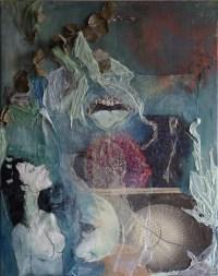 "Regina Viqueira,  ""Enthusiasm Still Abound"", 2015, Mixed media on canvas, 20"" x 16""-- $250"