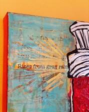 """Rachel Ingrid, """"Lighthouse,"""" original mixed media on canvas, 30"""" x 15"""" x 1 3/4"""" – $185"""