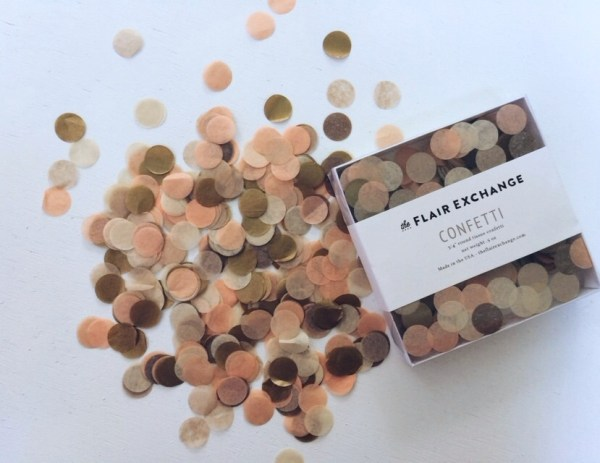 Custom confetti from the Flair Exchange