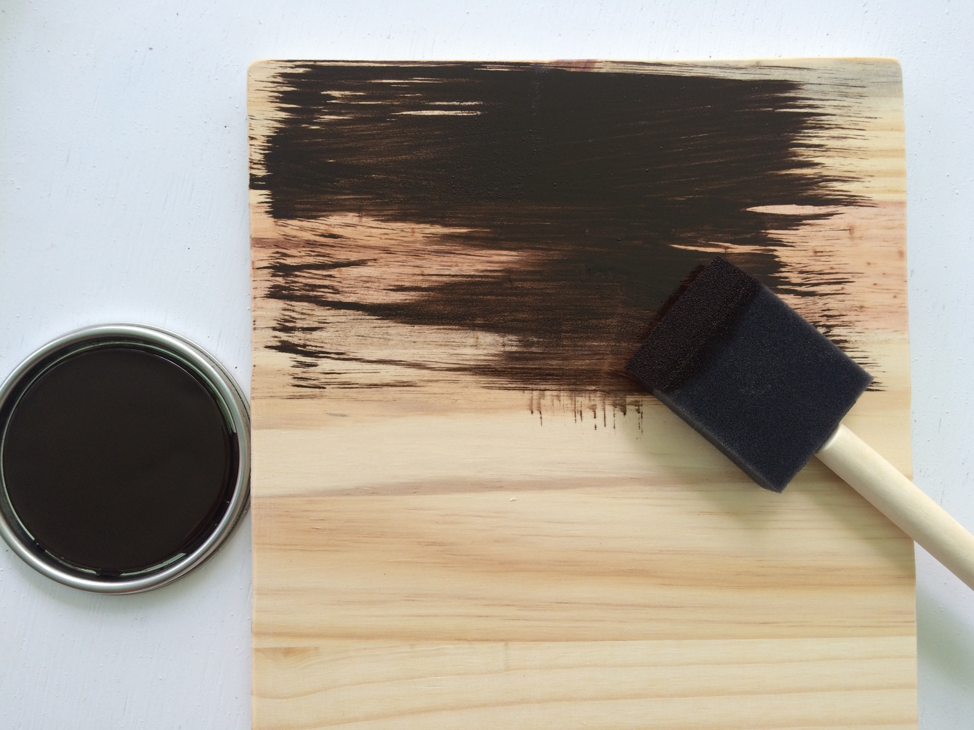 Using a dark stain on a piece of wood