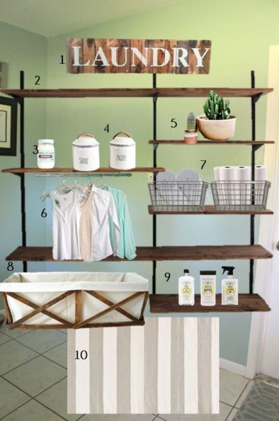 Overall look for laundry room storage using shelving.
