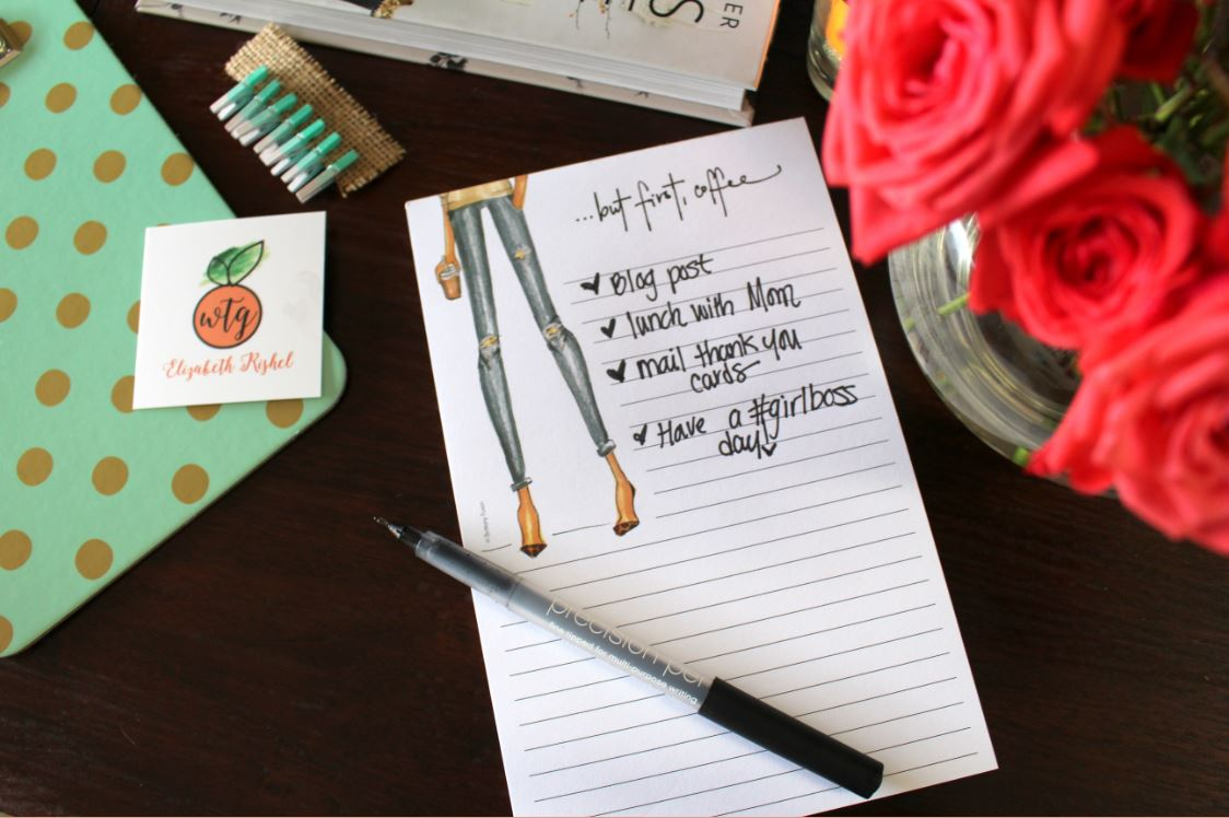 Using Brittany Fuson Paper Notepad to stay organized.