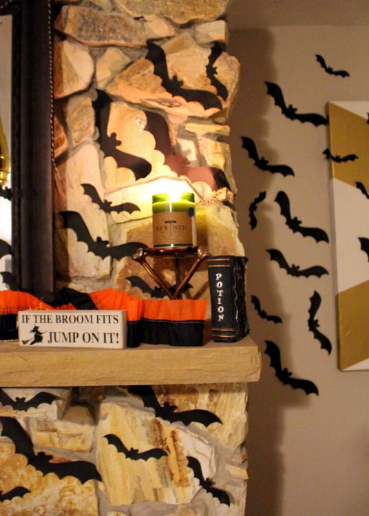 A DIY bat wall gives a spooky look to any wall!