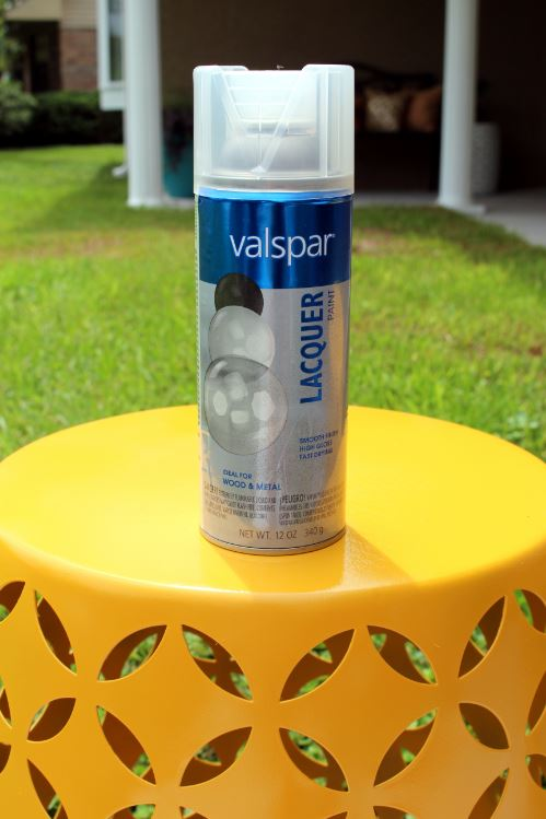 Using Valspar High Gloss to seal paint on the patio tables.