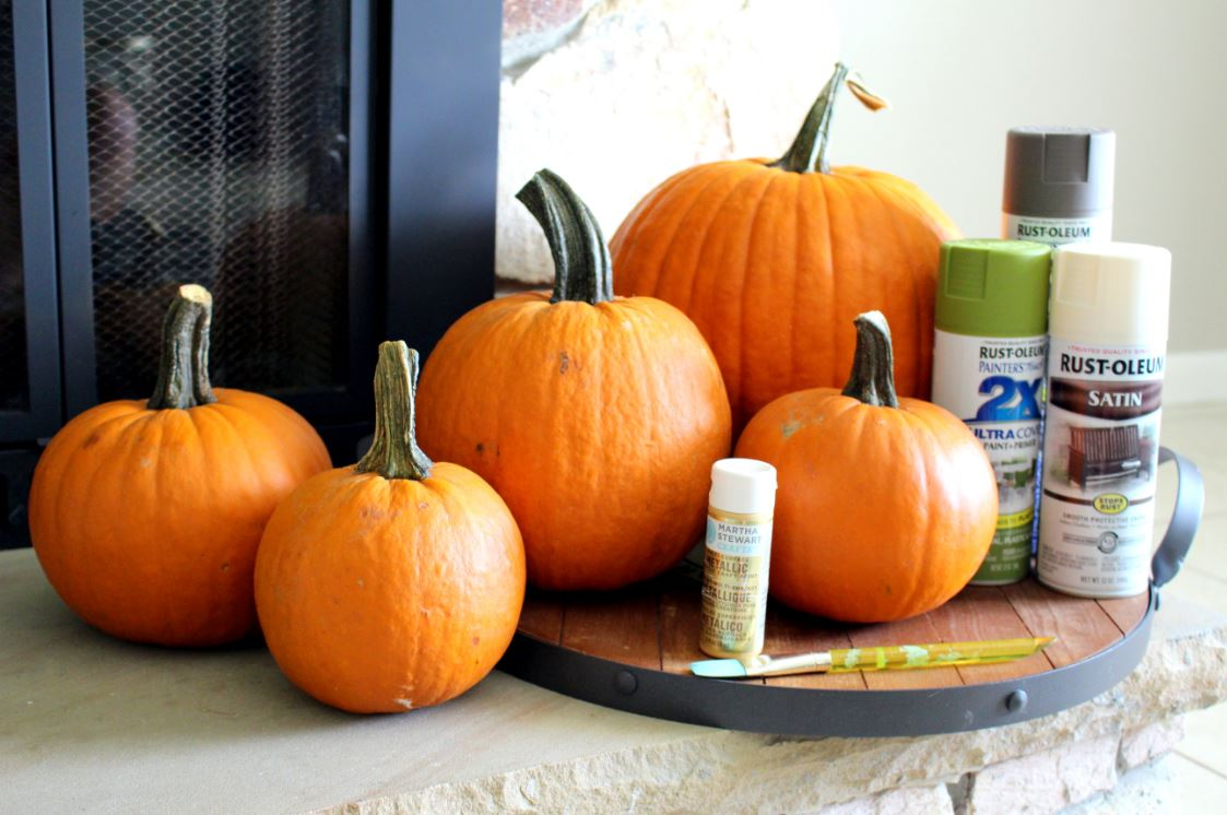 Supplies needed to create pianted pumpkins