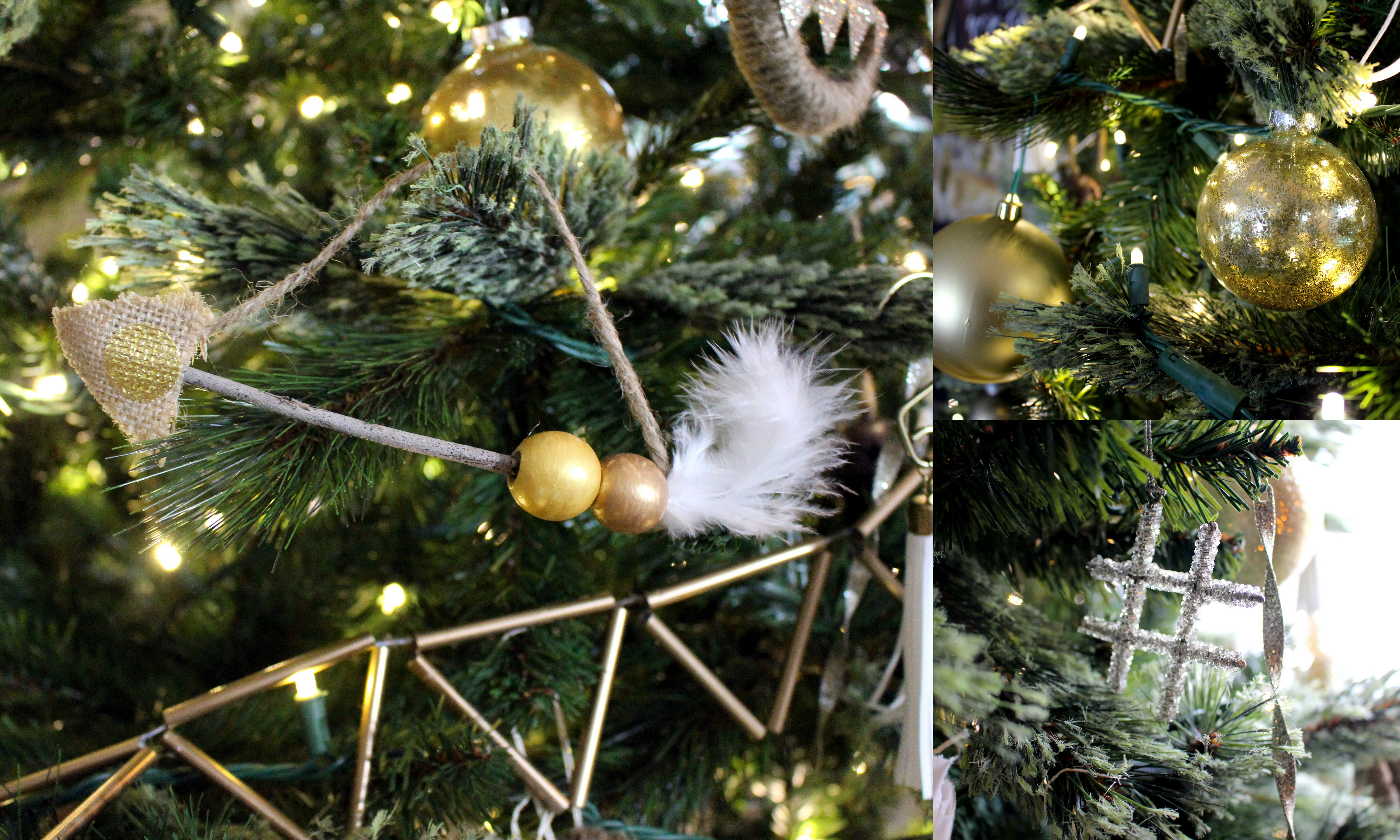 DIY ornaments with gold and neutral colors.