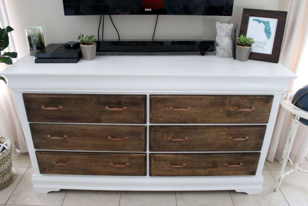 Painted dresser with copper handles