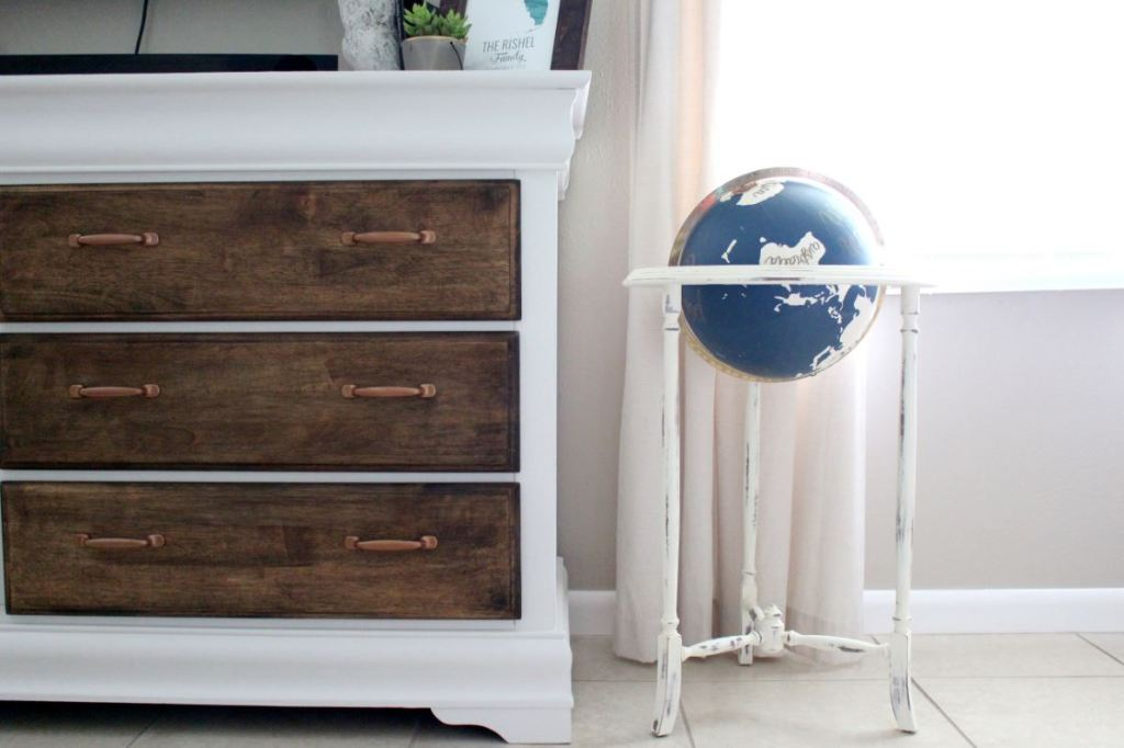 Stained and painted dresser with copper handles