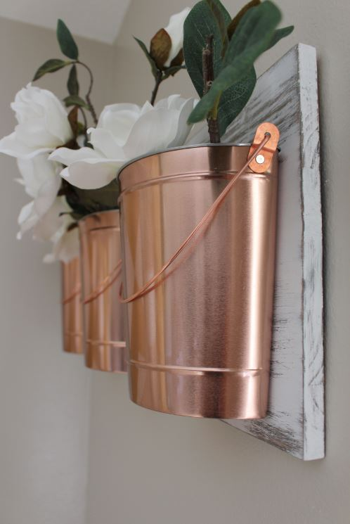 DIY Copper Bucket Wall Decor