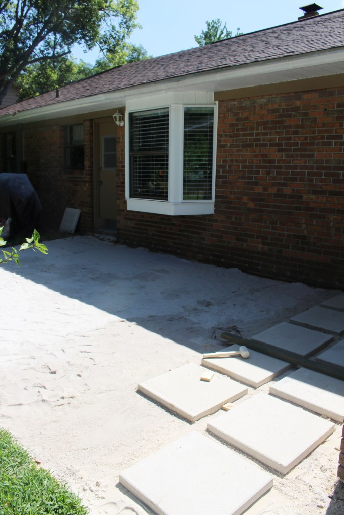 Placing pavers down
