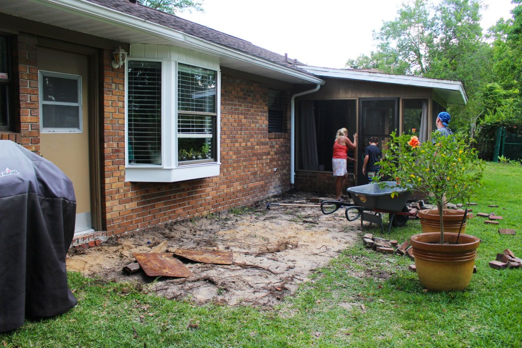 Removing brick from the old patio