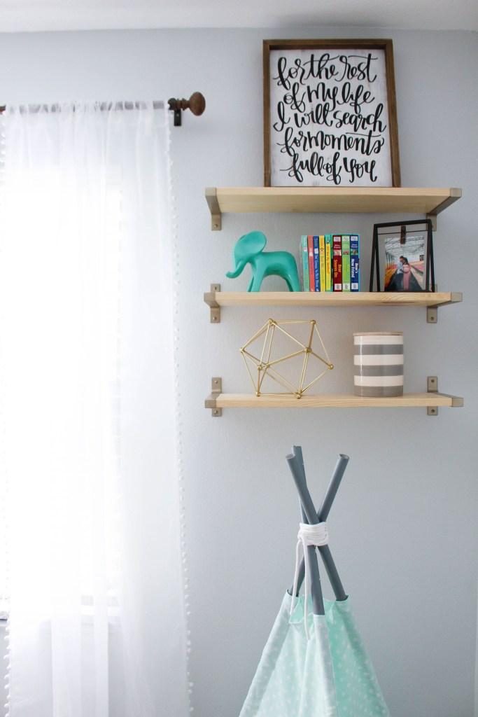Create wooden shelving in a nursery.