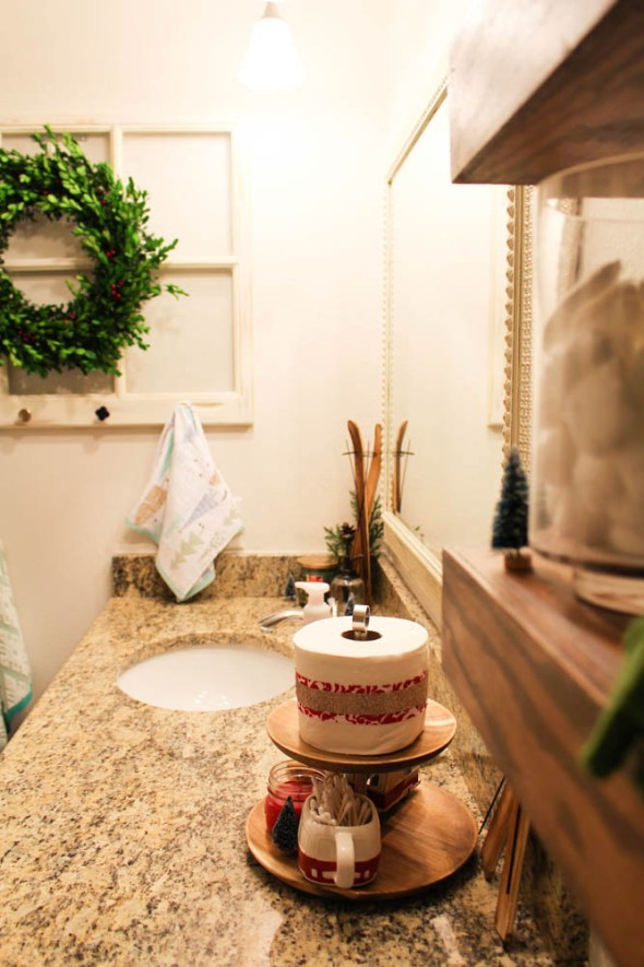 bathroom counters decorated for the holidays  - Within the Grove