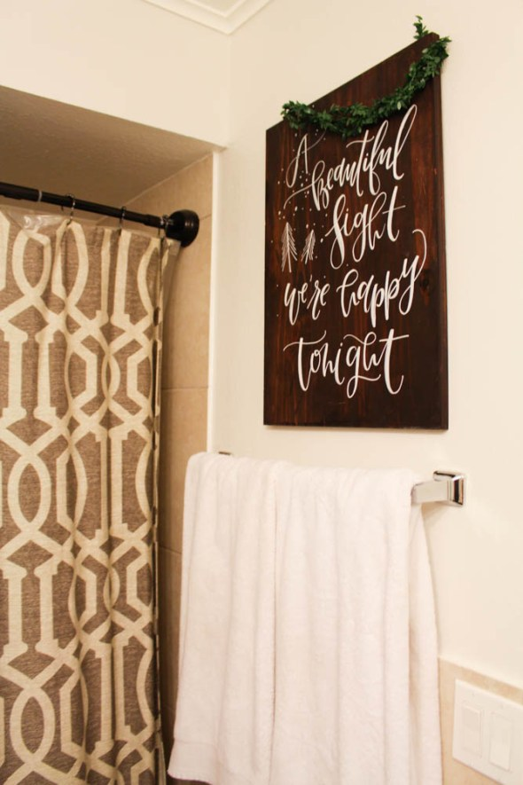 Christmas calligraphy sign for the bathroom  - Within the Grove