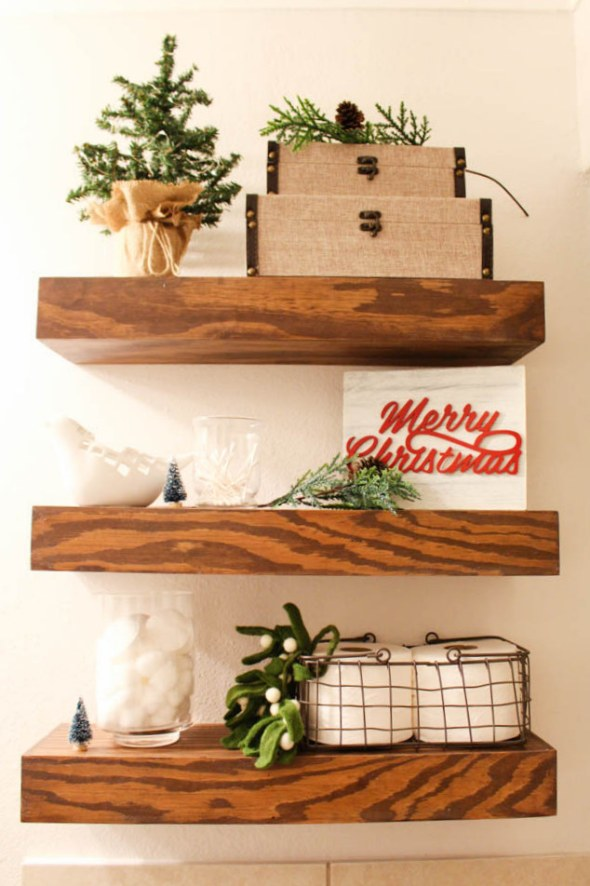 decorating bathroom shelves for the holidays  - Within the Grove