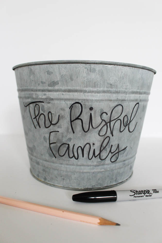 Creating a hand lettered bucket with a family name  - Within the Grove
