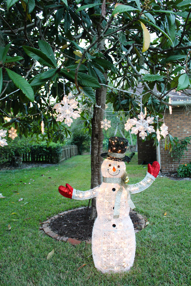 Large light up snowman and snowflakes for the front yard - Within the Grove