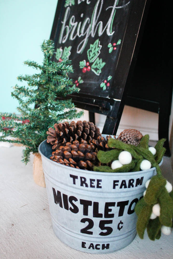 farmhouse bucket used for Christmas decor - Within the Grove