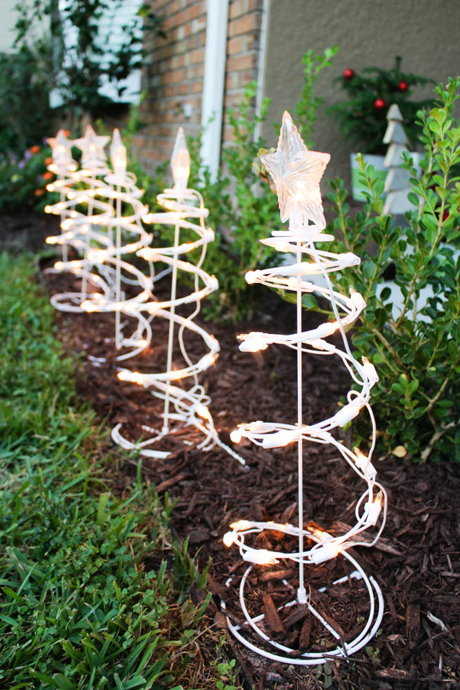 Sprial tree shaped lights for your front yard - Within the Grove
