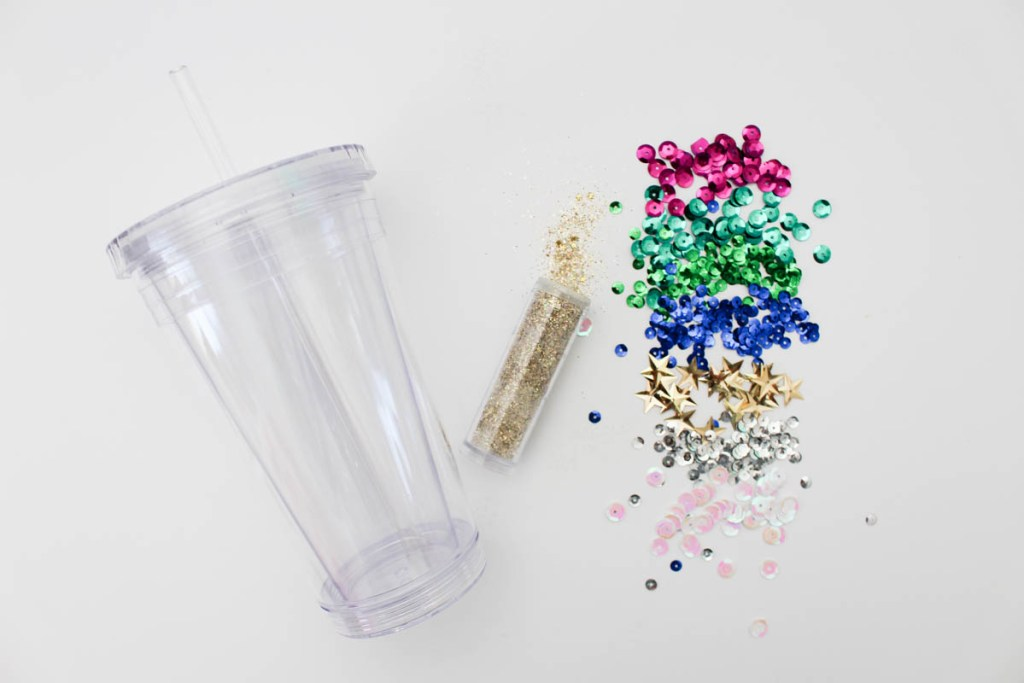 Supplies to create your own glitter tumbler - Within the Grove