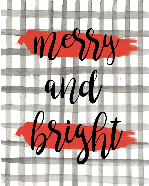 Merry and Bright free printable
