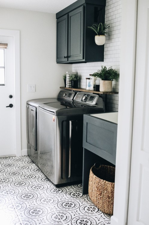 Laundry Room Update Painted Stenciled Floors Within The Grove