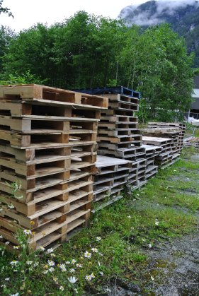 Pallets, pallets, and more pallets, building materiel, fire-wood, and entertainment all in one!