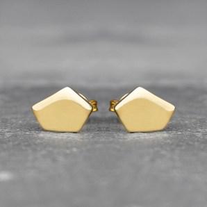 Pentagon Stud Earrings in 18ct Gold Vermeil £22.75