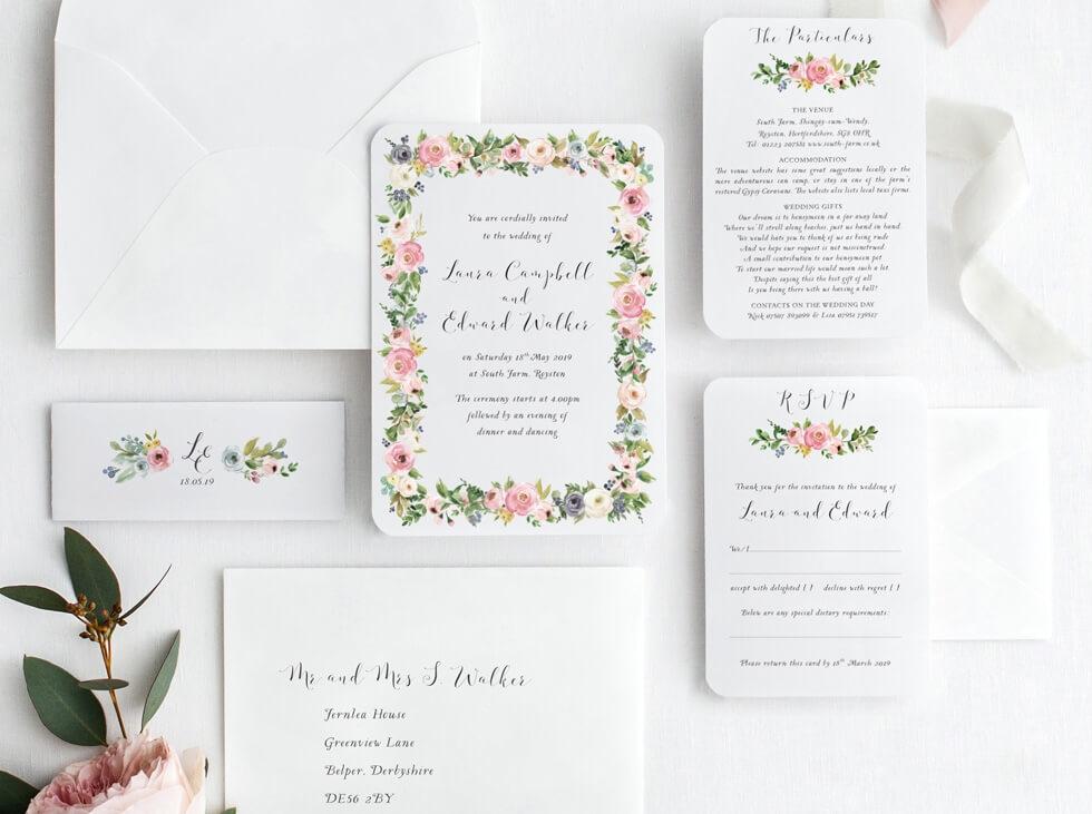 Wedding-invite-with-flower-garland